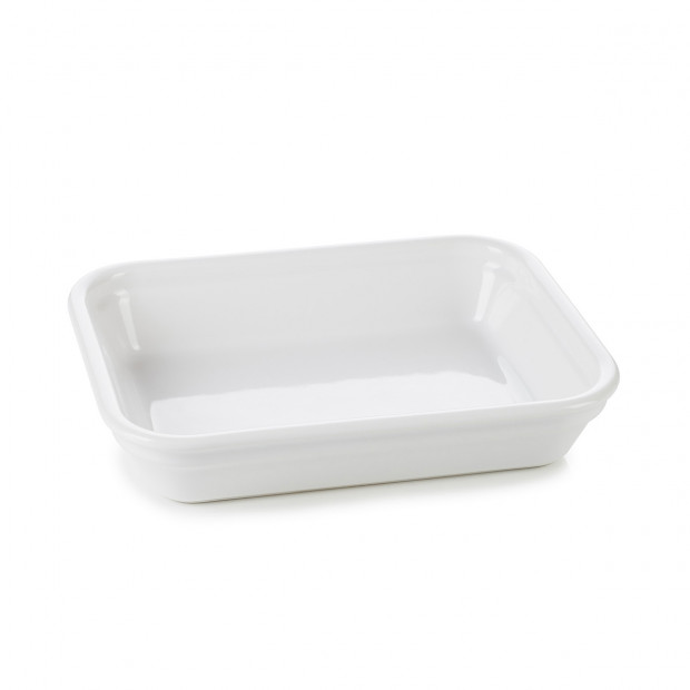 White individual rectangular roasting dishes