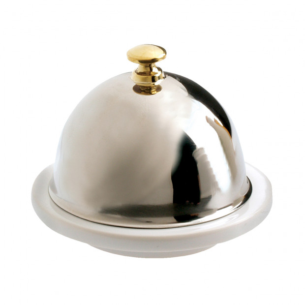 French Classics white butter dish with stainless steel lid