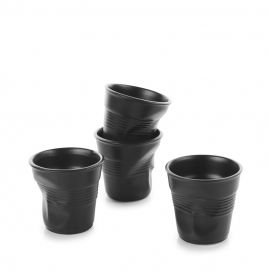 Set of 4 crumpled cups satin black 2 sizes