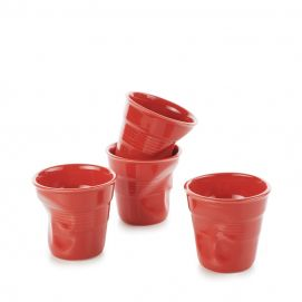 Set of 4 crumpled cups pepper red 2 sizes