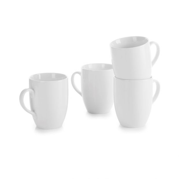 Set of 4 French Classics white mugs with handle and round edges