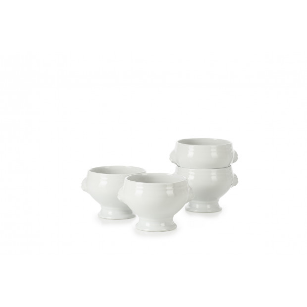 Set of 4 French Classics white lion headed soup bowls 12.25Oz