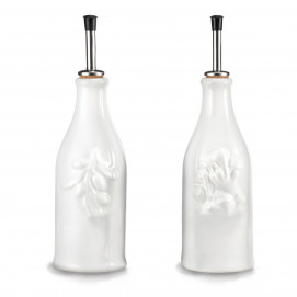 Set of 2 French Classics white provence olive-oil bottle and vinegar bottle