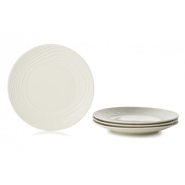 "Set of 4 Arborescence dinner plates 11.25"" 3 colors"
