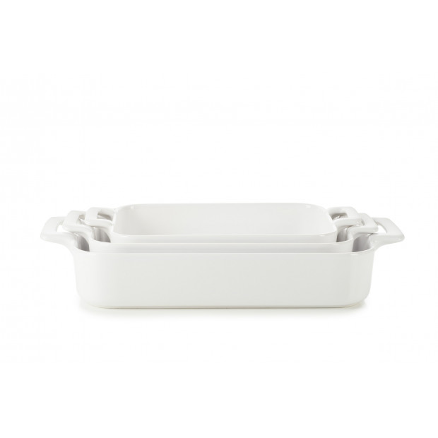Set of 3 Belle Cuisine white rectangular roasting dishes