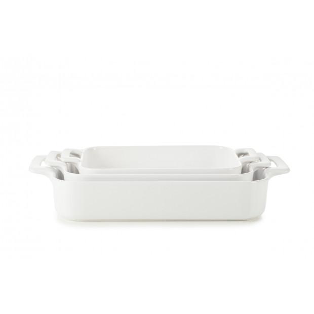 Set of 3 Belle Cuisine white rectangular roasting dishes
