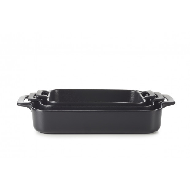 Set of 3 Belle Cuisine black cast iron style rectangular roasting dishes