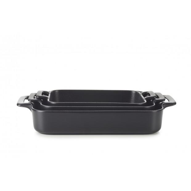 Set of 3 Belle Cuisine black cast iron style rectangular roasting dishes