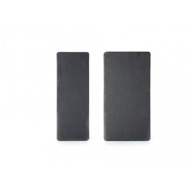 Set of 2 Basalt large and small rectangular plates