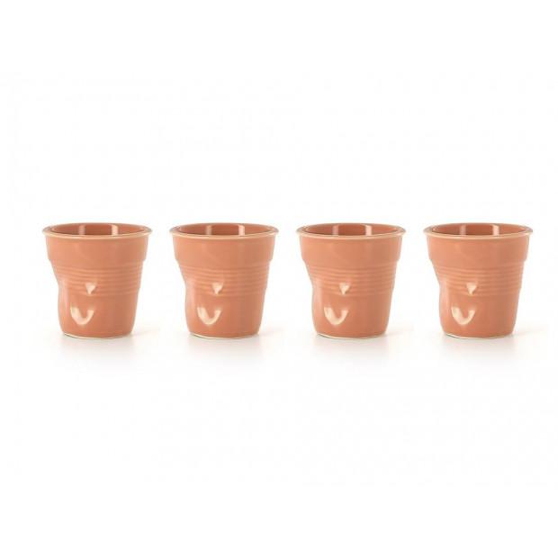 Set of 4 crumpled cups peach