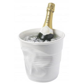 Crumpled white ice bucket