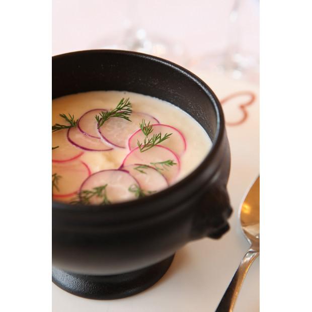 French Classics black cast iron style lion head soup bowl 2 sizes