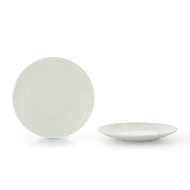 Assiette Plate en porcelaine effet bois