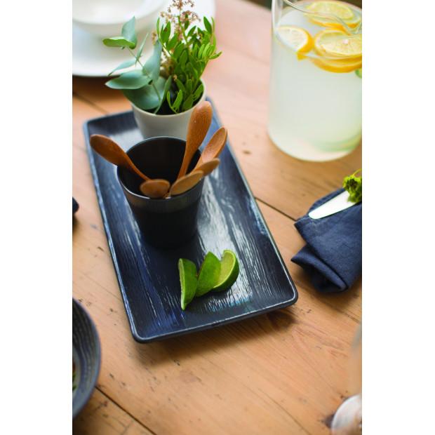 Assiette rectangulaire en porcelaine effet bois