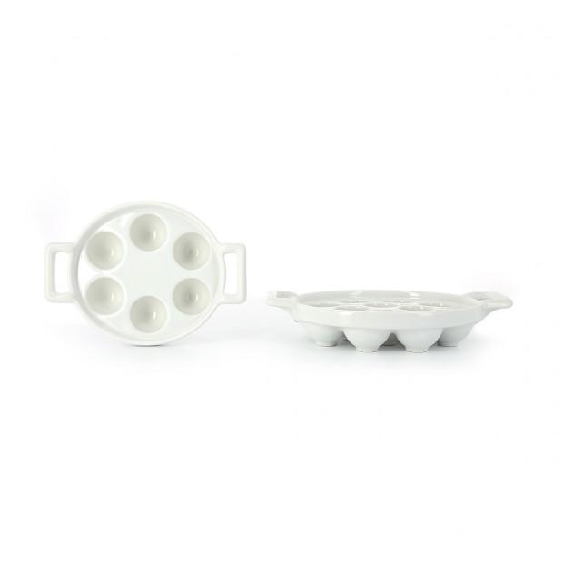Plat à escargots 6 ou 12 trous en porcelaine