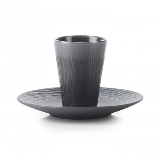 Tasse et soucoupe en porcelaine effet bois - Réglisse