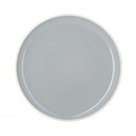Assiette plate colorée en porcelaine - Gris Stratus