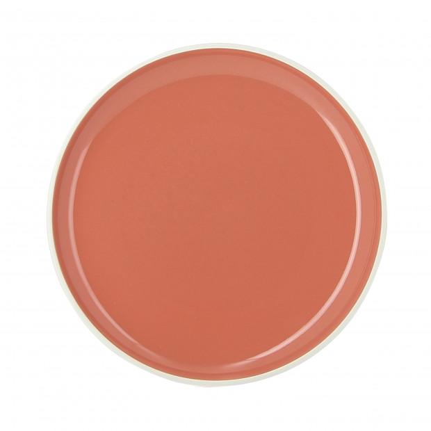 Assiette plate colorée en porcelaine - Orange Capucine