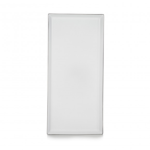 Assiette rectangulaire en céramique - Blanc Cumulus