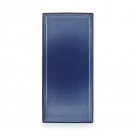 Assiette rectangulaire en céramique - Bleu Cirrus