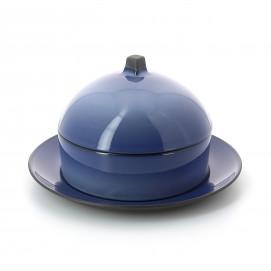 Set Dim Sum panier, cloche, assiette en céramique - Bleu Cirrus