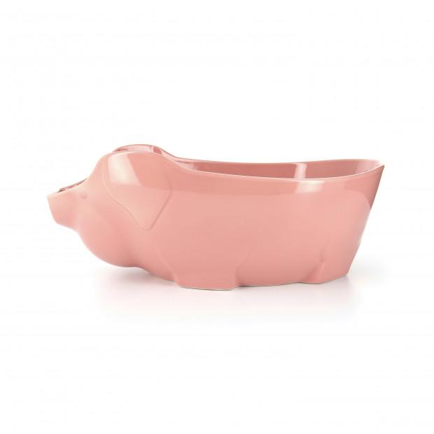 Plat cochon en porcelaine - Rose