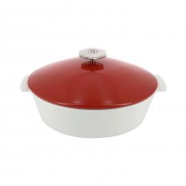 Cocotte ovale en céramique sans induction - Rouge Piment