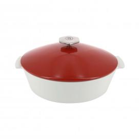 Cocotte ovale en céramique induction - Rouge Piment