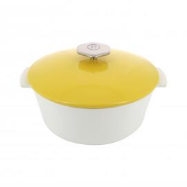 Cocotte ronde en céramique sans induction - Jaune Seychelles