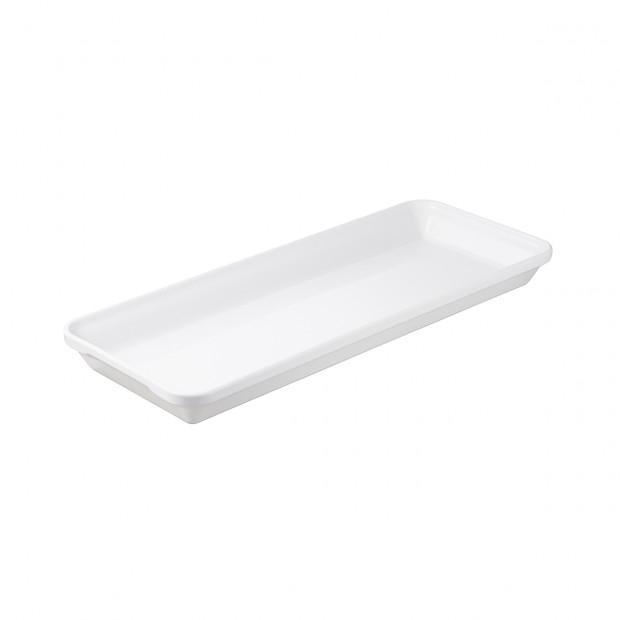 plat rectangulaire londres 50cm en porcelaine blanche - les essentiels