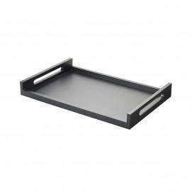 plateau rectangulaire à poignées en bois laqué noir - inspired, by revol
