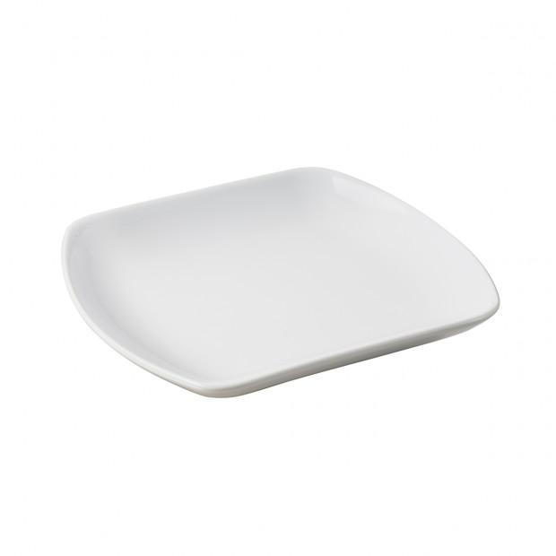 assiette carrée plate en porcelaine blanche - club