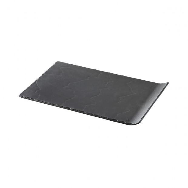 assiette rectangulaire 1 bord relevé en ceramique effet ardoise - basalt