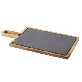 set de planches à tapas en céramqiue et acacia - basalt