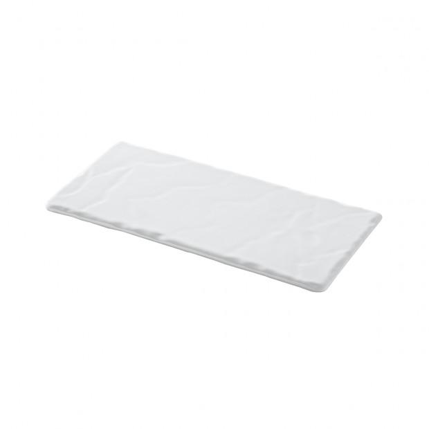 Assiette rectangulaire en céramique effet ardoise - Blanc