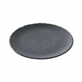 Assiette ronde en céramique effet ardoise