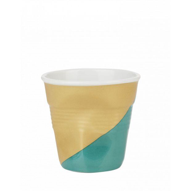 Froissé espresso décoré Twist green down