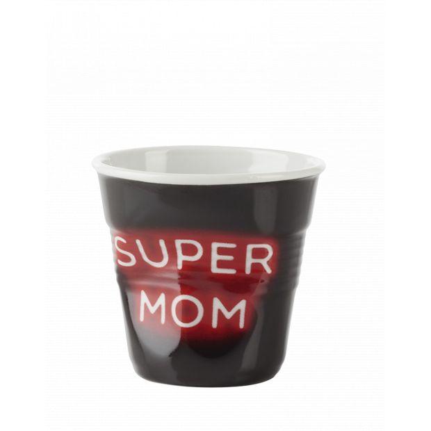 Froissé cappuccino décoré Néon Super Mom