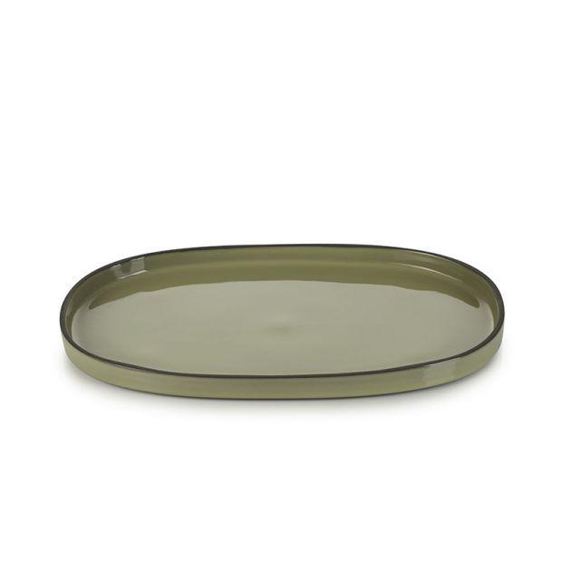 Assiette ovale Caractère 35 cm Cardamome
