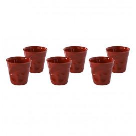 Lot de 6 gobelets froissés 5cl rouge pimen