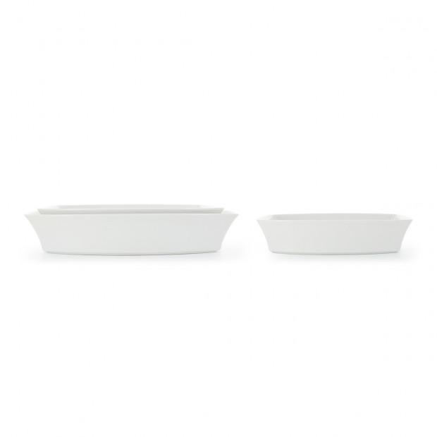 Plat à four rectangulaire en porcelaine blanche