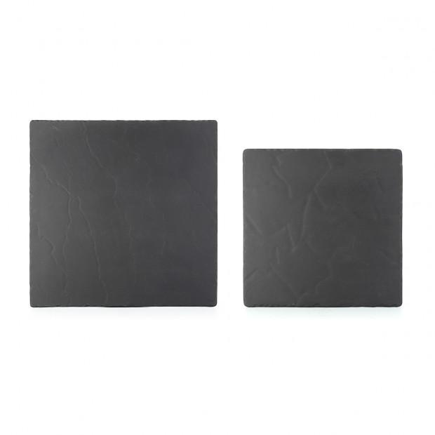 Assiette carrée en céramique effet ardoise