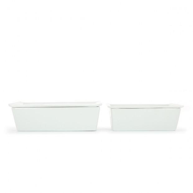 Terrine rectangulaire en porcelaine blanche avec couvercle