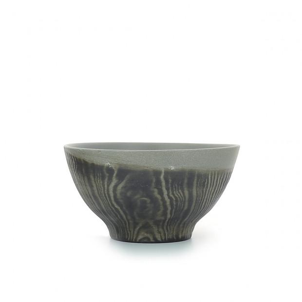 Wood-effect porcelain breakfast bowl