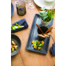 Wood-effect porcelain rectangular plate