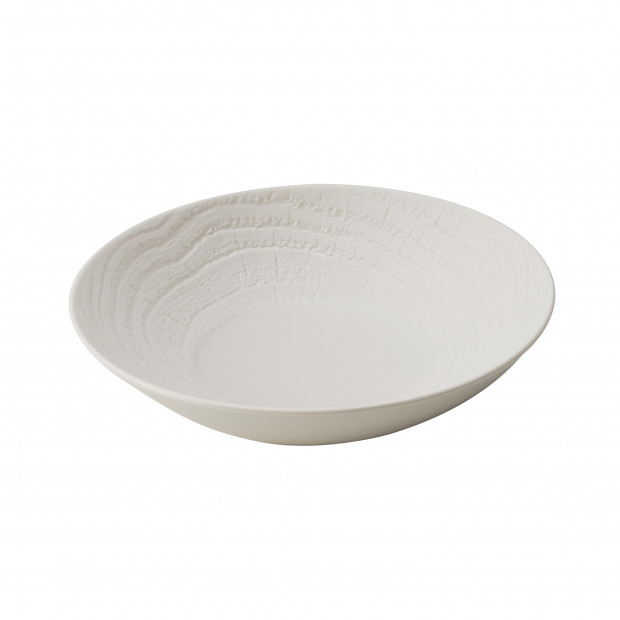 Wood-effect porcelain soup bowl - Ivory