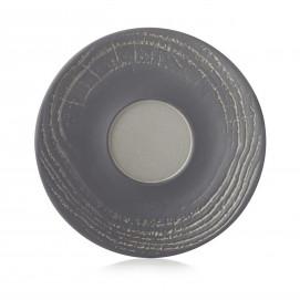 Wood-effect porcelain saucer - Pepper