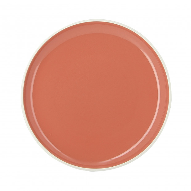 Coloured porcelain flat plate - Capucine Orange