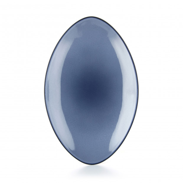 Oval ceramic plate - Cirrus Blue