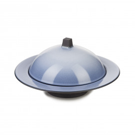 Dim Sum cloche and deep plate - Cirrus Blue